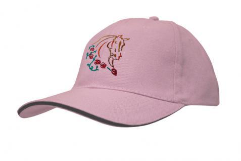 Cap mit gr. Pferde - Stick - Pferdekopf - 69244-3 rosa - Baumwollcap Baseballcap Hut Cappy Schirmmütze