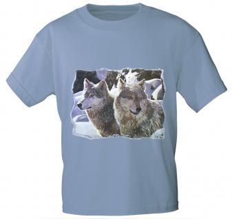 T-Shirt mit Print - Wölfe - 10818 - versch. Farben zur Wahl - Gr. S-2XL hellblau / XL