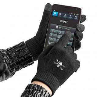 (31652)Touch Handschuhe mit Spezialeinsätzen an den Fingerkuppen in 8 Mitiv- Varianten S/M / Totenkopf
