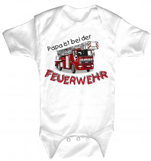 Babystrampler mit Print ? Papa ist bei der Feuerwehr ? 08486 weiß - 0-24 Monate