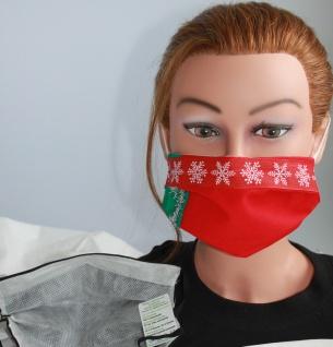 Textil Design Maske aus Baumwolle, mit zertifiziertem Innenvlies - Weinachtskristall Eiskristalle - 15894