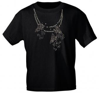 (12852) T- Shirt mit Glitzersteinen Gr. S - XXL in 13 Farben schwarz / M