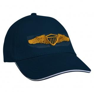 Baseballcap mit Einstickung Military Abzeichen - 68338 Navy