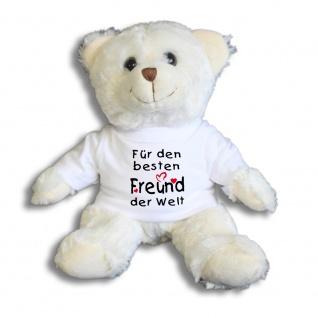 Teddybär mit Shirt - Für den besten Freund der Welt - Größe ca 26cm - 27091 weiß
