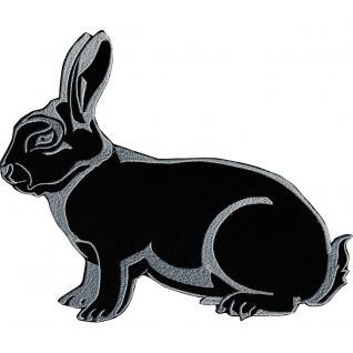 Aufnäher - Hase schwarz - 07369 - Gr. ca. 26 x 20 cm - Patches Stick Applikation