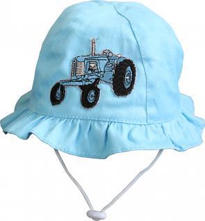 Sommerhut Baby Kleinkind mit niedlicher Einstickung - Traktor - 60754 hellblau