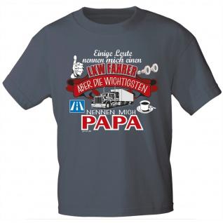 T-Shirt mit Print - LKW-Fahrer..nennen mich Papa - 12955 anthrazitgrau Gr. S