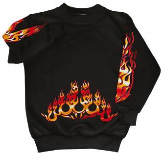 Sweatshirt mit Print - Feuer Flammen Fire- 10115 - versch. farben zur Wahl - schwarz / S