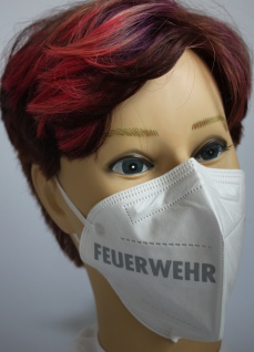 1x FFP2 Maske Deutsche Herstellung CE zertifiziert mit Aufdruck - Feuerwehr rechts