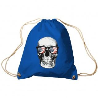 Sporttasche Turnbeutel Trend-Bag Print Totenkopf Skull USA Brille Sunglasses TB10982 Royal