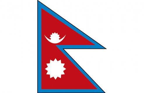 Länderflagge - Nepal - Gr. ca. 40x30cm - 77116 - Flagge mit Holzstock, Stockländerfahne