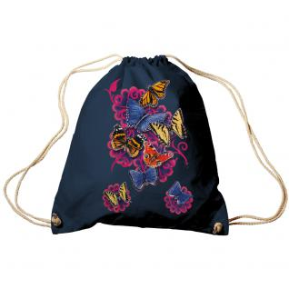 Trend-Bag Turnbeutel Sporttasche Rucksack mit Print - Schmetterlinge - TB65324 Navy