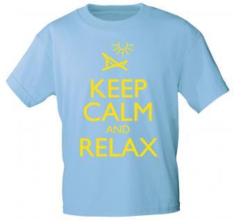 T-Shirt mit Print - Keep calm and Relax - 12906 - versch. Farben zur Wahl - hellblau / XL