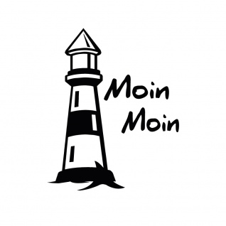 Auto-Aufkleber - Leuchtturm Moin Moin - 302979 Gr. 8, 5cm x 10, 5cm versch. Farben schwarz