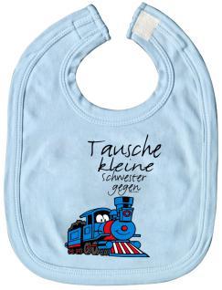 Baby-Lätzchen mit Druckmotiv - Tausche kleine Schwester... - 07022 - hellblau