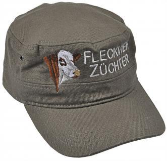 Militarycap - Baseballcap mit Stick - Fleckvieh Züchter - 69741 grau - Cap Kappe Baumwollcap
