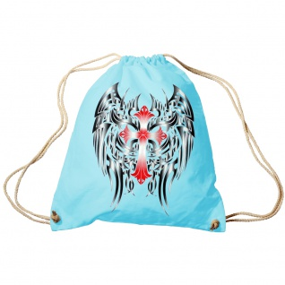 Trend-Bag Turnbeutel Sporttasche Rucksack mit Print- rotes Kreuz mit schwarzen Flügeln- TB65313 hellblau