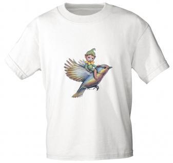 """(12442) Marken- Kinder T- Shirt """" Elfchen auf Vogel"""" Gr. 98-146 weiß / 134/146"""