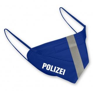1 FFP2 Maske in Blau mit fluoreszierenden Streifen und Print - POLIZEI - 15374