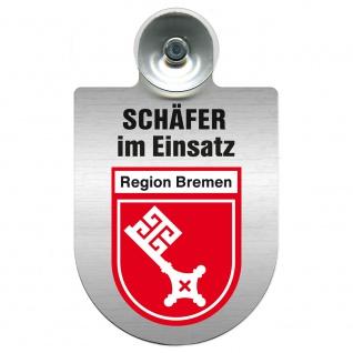 Einsatzschild Windschutzscheibe incl. Saugnapf - Schäfer im Einsatz - 309387 - Region Bremen