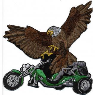 Rückenaufnäher - Bike mit Adler- 08019 grün- Gr. ca. 22 x 21 cm - Patches Stick Applikation