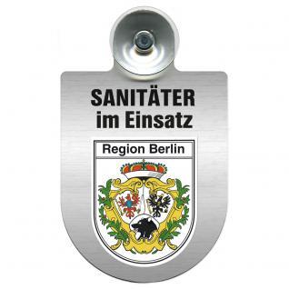 Einsatzschild Windschutzscheibe incl. Saugnapf - Sanitäter im Einsatz - 309396- Regionen nach Wahl Region Berlin