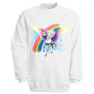 """Sweat- Shirt mit Motivdruck in 7 Farben """" Pegasus"""" S12664 weiß / L"""