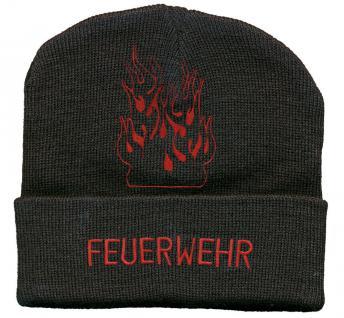 (54025) Hip Hop Mütze, Strickmütze, Mütze mit Einstickung - Feuerwehr -