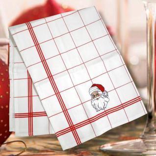 Geschirrtuch Küchentuch Trockentuch Stickerei Nikolaus Weihnachtsmann 31713