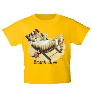 Kinder T-Shirt mit Print Cat Katze im Liegestuhl Beach Bum KA063/1 Gr. 122-164