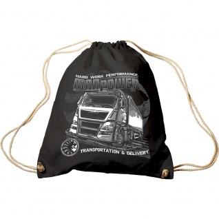 Trend-Bag mit Aufdruck - LKW Trucker ManPower Hard Work Performance - 65124 - Turnbeutel Sporttasche Rucksack