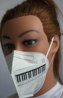 1x FFP2 Maske Deutsche Herstellung CE zertifiziert mit Aufdruck - Klaviertastatur