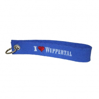 Filz-Schlüsselanhänger mit Stick I love Wuppertal Gr. ca. 17x3cm 14333 royalblau