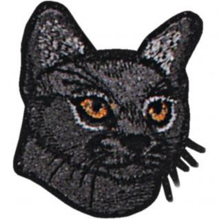 Aufnäher - Katzenkopf - 00929 - Gr. ca. 6 x 6 cm - Patches Stick Applikation