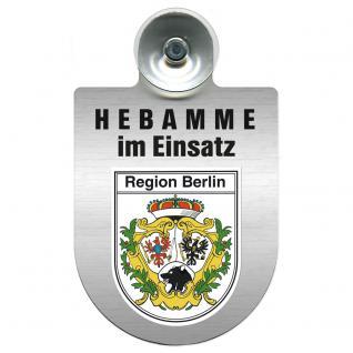 Einsatzschild Windschutzscheibe incl. Saugnapf -Hebamme im Einsatz - 309357-14 - Region Berlin