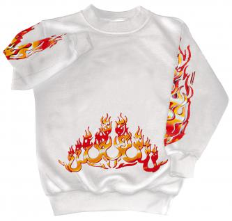 Sweatshirt mit Print - Feuer Flammen Fire- 10115 - versch. farben zur Wahl - weiß / L