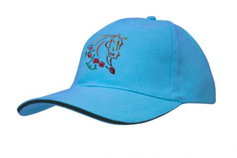 Cap mit gr. Pferde - Stick - Pferdekopf - 69244-2 türkis - Baumwollcap Baseballcap Hut Cappy Schirmmütze