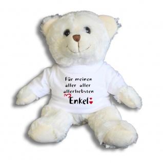 Teddybär mit Shirt - Für meinen aller, aller, allerliebsten Enkel - Größe ca 26cm - 27166 weiß