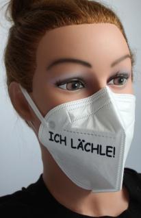 1x FFP2 Maske Deutsche Herstellung CE zertifiziert mit Aufdruck - Ich Lächle