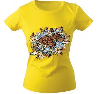 Girly-Shirt mit Print - Tiger - 10973 - versch. farben zur Wahl - Gr. S-XXL gelb / M