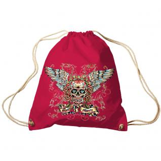 Trendbag Turnbeutel Sporttasche Rucksack mit Print - Totenkopf Skull Santa Muerte - TB65310 rot