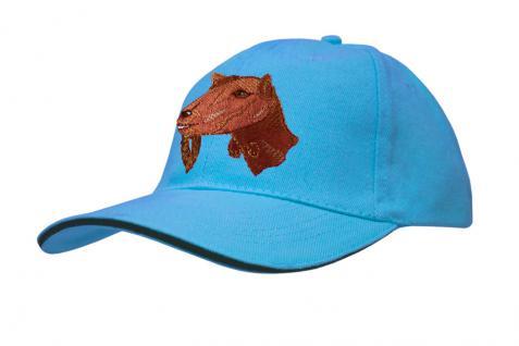 Cap mit gr. Ziegen - Stick - Ziegenkopf - 69247-2 türkis - Baumwollcap Baseballcap Hut Cappy Schirmmütze