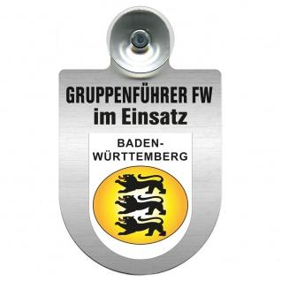 Einsatzschild Windschutzscheibe incl. Saugnapf - Gruppenführer Feuerwehr im Einsatz - 309750 Region Baden-Württemberg