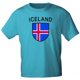 Kinder T- Shirt mit Laenderwappen Island Gr. 98-164 76023 blau / 134/146