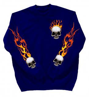 Sweatshirt mit Print - Totenkopf Fire - 10112 - versch. farben zur Wahl - blau / XXL