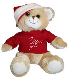 Plüsch - Teddybär mit Shirt und Mütze - I love You - Weihnachten - 39948