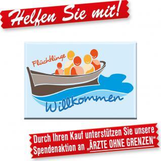 MAGNET mit Motiv - FLÜCHTLINGE WILLKOMMEN - Gr. ca. 8cm x 5, 5cm - 37647 - Küchenmagnet