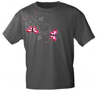 (12853) T- Shirt mit Glitzersteinen Gr. S - XXL in 16 Farben M / grau
