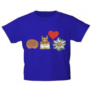 Kinder-T-Shirt mit Print - Brezel, Lederhose, Edelweiß - 08609 royalblau - Gr. 122/128