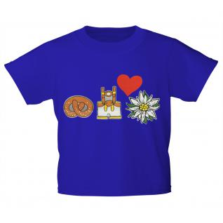 Kinder-T-Shirt mit Print - Brezel, Lederhose, Edelweiß - 08609 royalblau - Gr. 152/164